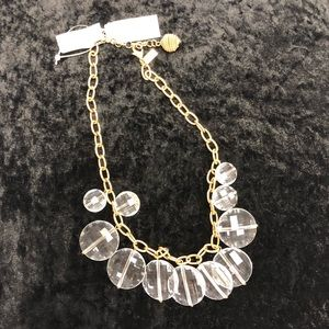 NWT Kate Spade clear bead goldtone chain necklace